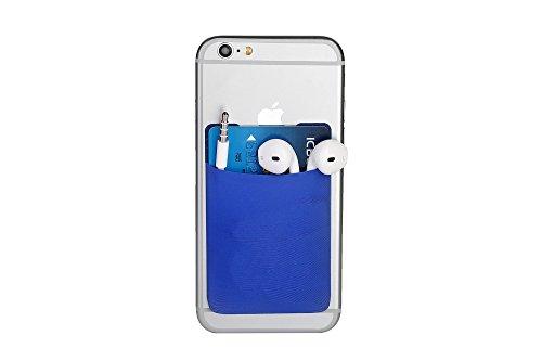 Cerbery® | Smartphone Kartenhalter | Auto Etui Fingerhalter Fitness Folie Halter Halterung Handy Hülle Kartenhülle Kopfhörer Sport | Kompatibel mit Apple iPhone 7 8 X Samsung Galaxy (Blau)