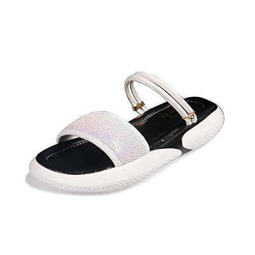 JIAYING Sandalen Damen-Sandalen,Freizeit Flach Sandalette,Sommer Schuhe,erhöhen hohes Design, in 6 Größen (weiß, schwarz) (Color : White, Size : US7.5/EU38/UK5.5/CN38) 6-zoll-sexy White Schuh