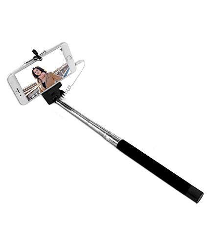 AT Shopping AUX Selfie Stick/Rod Expandable upto 29 Inches Compatible For Motorola Moto G2 Mobile Phone - Black