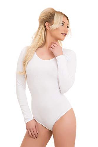 Evoni Damenbody   Overall Bodysuit mit Rundhals für Frauen   Langarm-Body in verschiedenen Farben   Optimale Alternative für Sport & Freizeit   Eleganter Jumpsuit(Medium, Weiß)