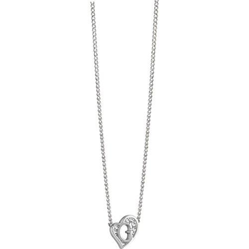 Guess donna con ciondolo a forma di g hearts collana acciaio inossidabile cristallo bianco 45cm-ubn71536