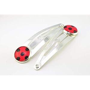 Stechschmuck Haarnadel Haarklammern Haarspangen Haarklemmen Handmade Punkte Polka Dots Ladybug Lady Bug Schwarz Rot Silber Farben 2 Stück Set 14mm