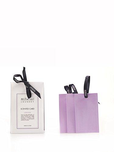Millefiori Lavendel Duftkarten für Kleiderschrank Laundry 3 Stück, Kautschuk, Violett, 3.3 x 10.3 x 15.4 cm - Drei Center Schubladen