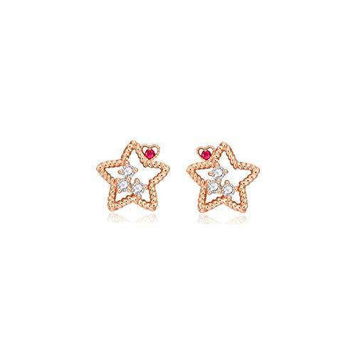 EARRING Solido in Oro Rosa 14 carati Si/H Diamanti Naturali a Taglio Pieno Orecchini a Bottone Stella Cuore Rubino Naturale Orecchini da Donna Gioielli Raffinati Impegno