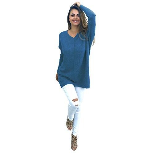 Romacci Femmes Automne Hiver Pull V-Cou Lâche Tricoté Surdimensionné Tops Robe Plus La Taille Vêtements d