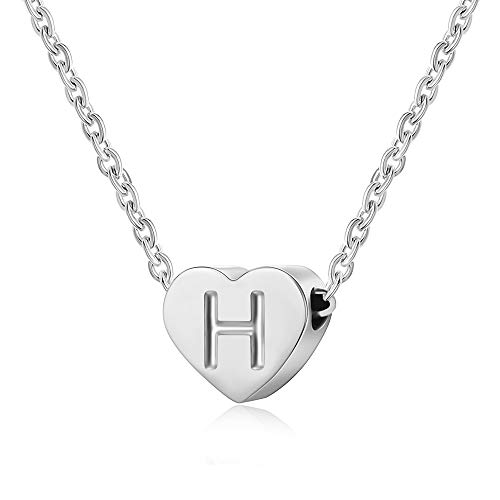 0be3b764a5 AFSTALR Letter Initial Necklace Girls Women Silver Personalized Tiny  Initial Alphabet Love Choker Necklace Gifts, Silver Letter H Necklace