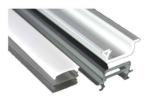 Led Alu minium Profil 1m unterputz für Led Streifen mit opaler Abdeckung Lcd-xenon