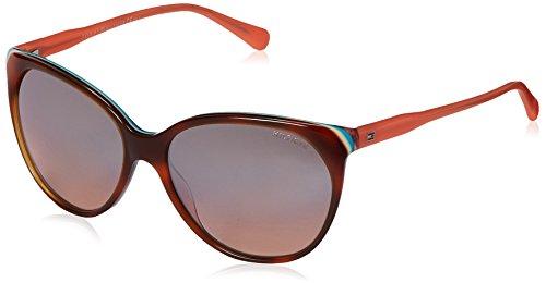 Tommy hilfiger donna th 1315/s g4 vn4 57 occhiali da sole, rosa (hvcrmtrq pch/brown ms slv)