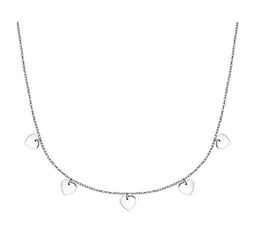SOFIA MILANI Damen Halskette Plättchen Herzen Silber 50151