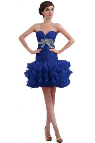 Sunvary nuovo arrivo guaina Sweetheart organza breve cocktail party Dress Royal Blue