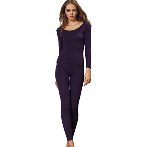 Liang Rou Damen mit Rundhalsaußchnitt Stretch dünnes Unterwäsche Set, Oberteile und Unterhosen (Pyjama-hose John Long)