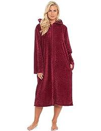 7bcf207f18 Slumber Hut® Ladies Fleece Dressing Gown with Snuggle Hood - Luxury Fully Zipped  Long Length