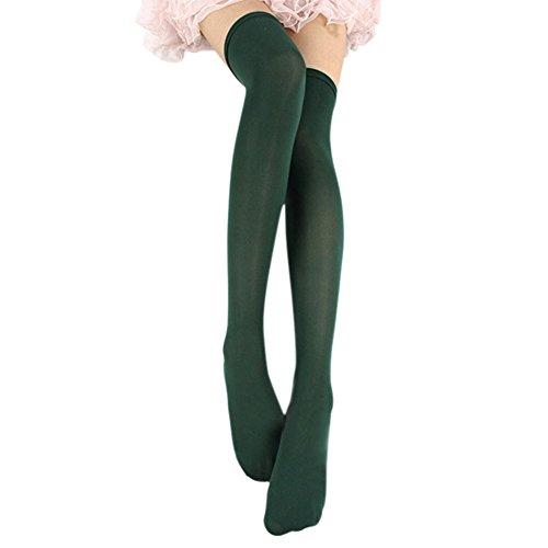 Esbelle Damen halterlose Strümpfe über Knie-Lang Kniestrümpfe Socke Frauen Strumpfhose Bunt (Grün) (Grün Nylon-strumpfhosen)
