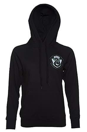 Damen Schwarz Harry Potter Slytherin Wappen leichte College Hoodie