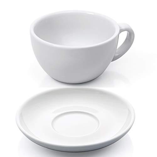Gastro Spirit XL Cappuccino Tassen Set 12-TLG. weiß Porzellan Cappuccinotasse Untertasse Kaffeetasse Tasse dickwandig Füllmenge 280 ml - Cappuccino-tassen Italien Aus