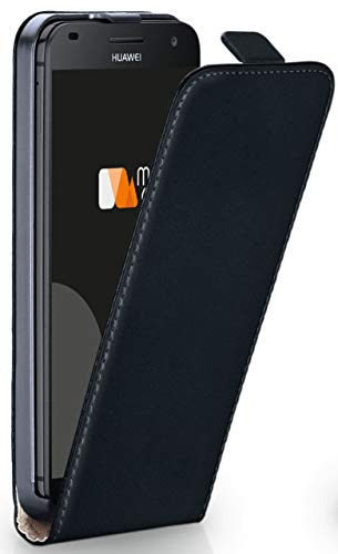 moex Huawei G7 | Hülle Schwarz 360° Klapp-Hülle Etui Thin Handytasche Dünn Handyhülle für Huawei Ascend G7 Case Flip Cover Schutzhülle Kunst-Leder Tasche
