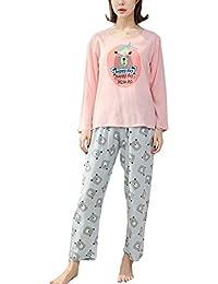 0cd8504c0eaa5 BoBoLily Femme Chemise De Nuit Automne Hiver Set De Pyjama Impression  Trousers Taille Élastique Spécial Style