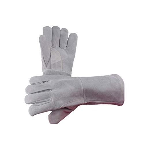 Moolo Warme Handschuhe Schweißen Handschuhe, Rindsleder Heavy Duty Hitzebeständige Brenner Zubehör Barbecue Gartenkamin
