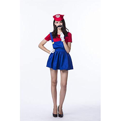 MEMIND Halloween Cosplay Kleidung Mario Kleidung Mario Anime Cosplay Super Mary Spiel Uniform Kostüme Thema Party Party Prom Kleidung,Rot,M