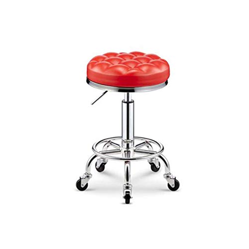 SXFYWYM Drehstuhl/Hocker Massage Beauty Bar Sattel Hocker Verstellbarer Stuhl PU Leder Runde Rollen mit Rädern,Rot -