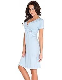 dn-nightwear Damen Umstandsnachthemd / Stillnachthemd aus 100% Baumwolle