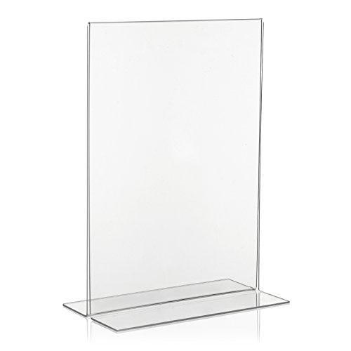 VITAdisplays® T-Werbeaufsteller / T-Ständer / Tischaufsteller / Acryl-Aufsteller, DIN A4 (21×29,7cm), Transparent (NE-380)