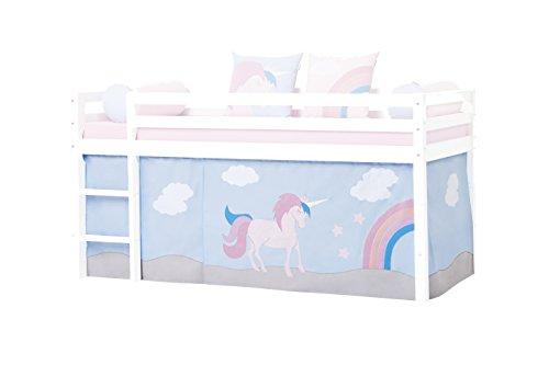 Hoppekids Halfhigh/Play/Kabine Bett, Mid Sleeper, Stoff, Pink/Blau, 200 x 90 x 72 cm (Stoff Sleeper)
