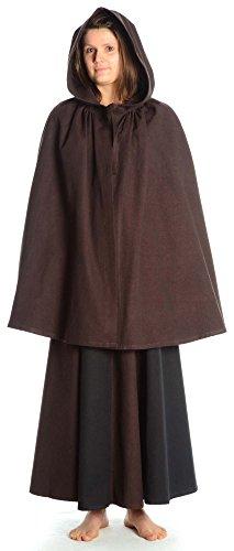 Kleidung Mittelalterliche Kostüme Renaissance (HEMAD Damen Mittelalter Umhang mit Kapuze kurz braun reine Baumwolle)
