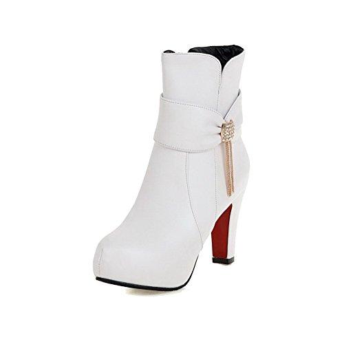 VogueZone009 Damen Niedrig-Spitze Rein Reißverschluss Stiefel mit Beschlagene Strass Weiß