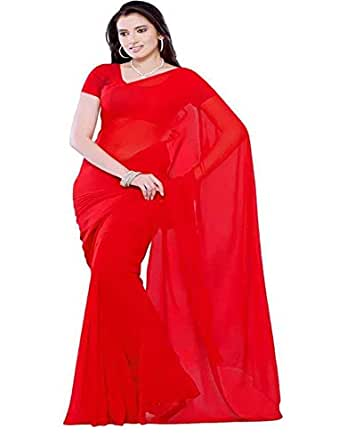 Bhagwati Women's Solid Georgette Plain Saree 6:30 cut with Running Blouse Piece