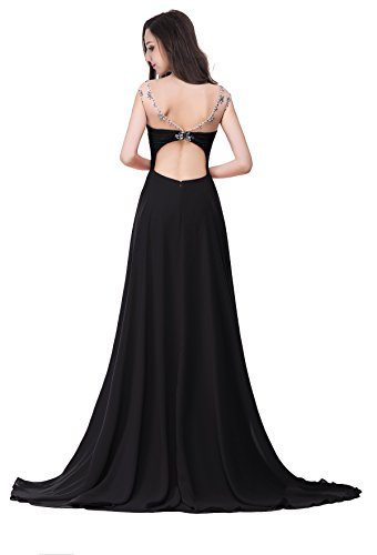 MisShow Damen Elegant Ärmellos Abendkleider Abschlusskleid Chiffon Ballkleider Lang Strass Gr.32-46 Schwarz