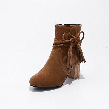 RTRY Scarpe Da Donna In Pelle Nubuck Inverno Moda Stivali Stivali Chunky Tallone Punta Tonda Babbucce/Stivaletti Lace-Up Per Abbigliamento Casual Giallo Beige US9.5-10 / EU41 / UK7.5-8 / CN42