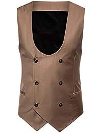 ALIKEEY Hombres Chaqueta De Abrigo Sin Mangas Estampado Plaid Button Casual  Chaleco Blusa Traje Británico Vestir 78b7163d96f