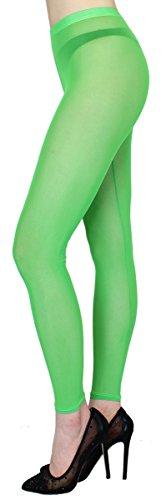 dy_mode Transparente Leggings in Sommerfarben/Durchsichtige Netz Leggings Strumpfhose - elastisch One Size 36 bis 42 - YLG114 (YLG114-Grün)