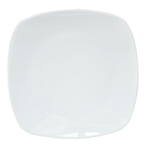 6er Set Flache Teller, Essteller, Menüteller, ca.Ø 28cm, eckig, weiß, Porzellan REB2228