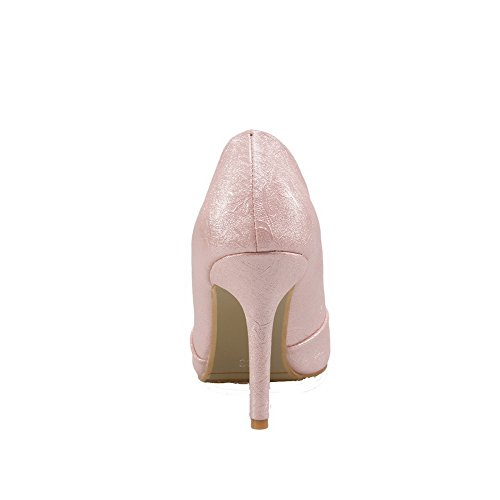 31144e1b613 ... Voguezone009 Femme Pure Shimmer À Talons Hauts Bout Pointu Pull Rose  Ballet Chaussures ...