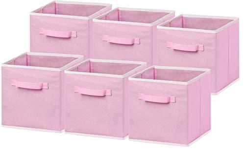 limpide en vue quantité limitée 100% de satisfaction Simple Houseware Lot de 6 bacs de Rangement Pliables Rose