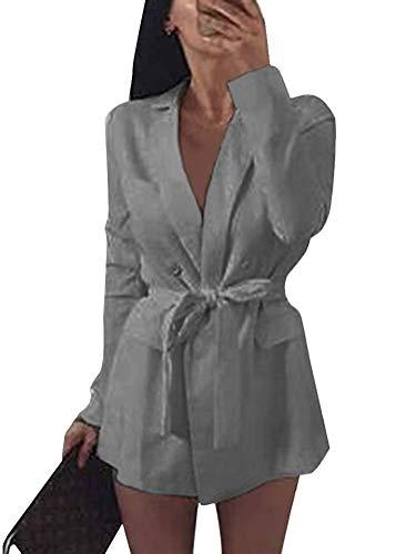 Minetom Damen Mini Blazer Kleid Frauen Elegant Langarm V-Ausschnitt Solide Hemdkleid mit Gürtel Business Lange Hülse Büro Jacken Anzug (DE 34, Grau)
