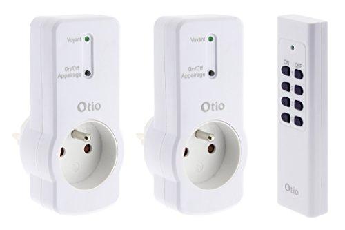 Otio - Lot de 2 prises 16A 2P+T télécommandées avec télécommande