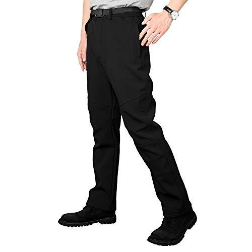 SANMIO Herren Hose, Gefüttert Winterhose wasserdicht + Winddicht + atmungsaktiv + warm + elastisch Verdickte Softshellhose Wanderhose Funktionshose Trekking Outdoorhose mit Gürtel