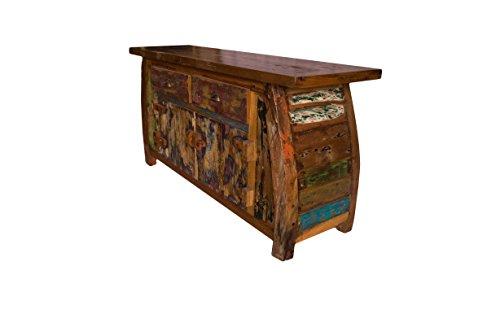 (K15)Vintage Teak gebogene Kommode, Kabinett, Sideboard, Schrank, Shabby, Antik Retro, Chic - 2