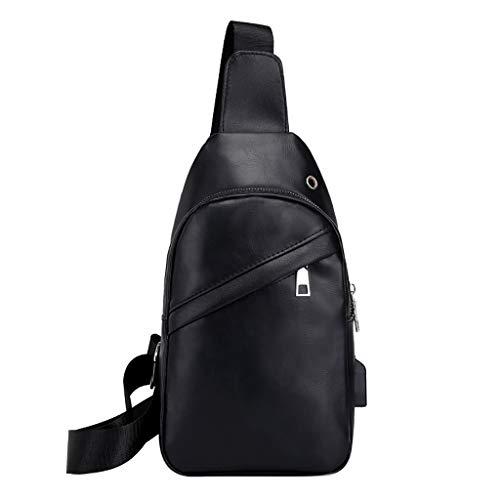 Messenger Schultertasche für Herren/Skxinn PU-Leder Outdoor-Brusttasche,Casual Umhängetasche Satchel Rucksack für Männer Business, Wandern, Reisen,Party,Ausverkauf(Schwarz)