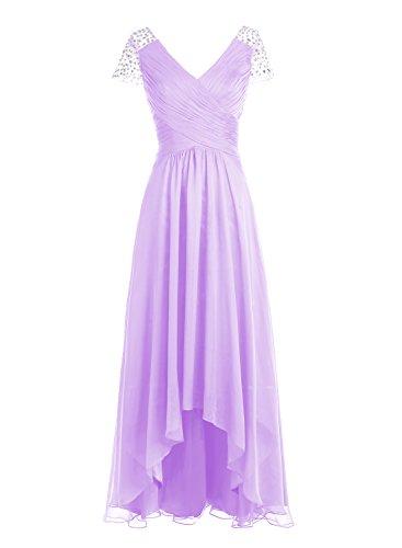 Bbonlinedress Robe de cérémonie Robe de demoiselle d'honneur asymétrique col en V longueur ras du sol Lavande
