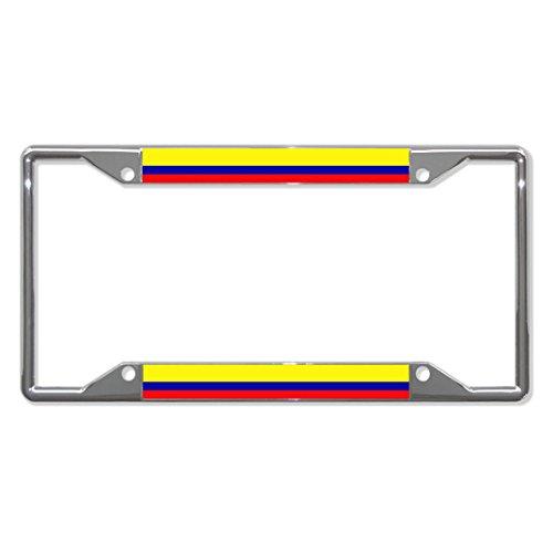 Colombia Flag Country Metal License Plate Frame Tag Holder Quattro Fori Perfetto per Uomini Donne Auto Garadge Decor