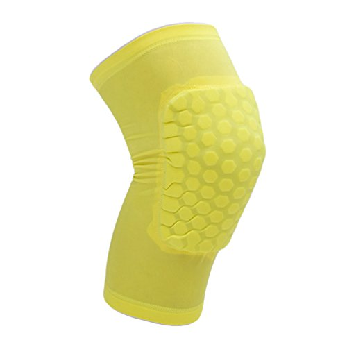 Dexinx Unisex Volltonfarbe Kurzes Knie Sport Stützhülse Compression Brace für Laufen, Sport, Jogging, Basketball, Injury Recovery Gelb M(29cm)
