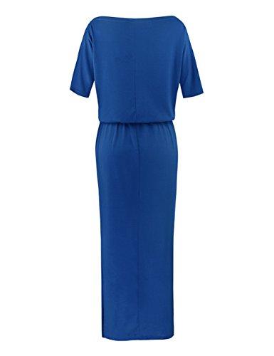 ISASSY Damen Sommerkleid Kleider Maxikleid Lang Kleid Partykleid BOHO-Abendkleid Blau