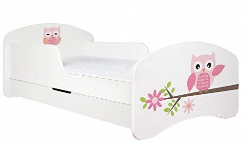 """ANIMALS Kinderbett """"EULE"""" mit Matratze Lattenrost/verschiedene Farben (180x90 cm mit Schublade, Weiss)"""
