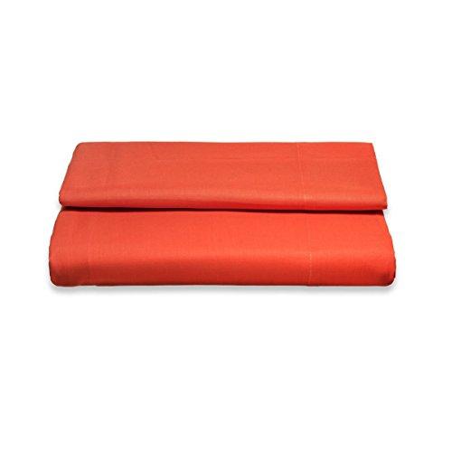 Sancarlos - Sábana encimera, 100% Algodón percal, Color Naranja, Cama de 135 cm