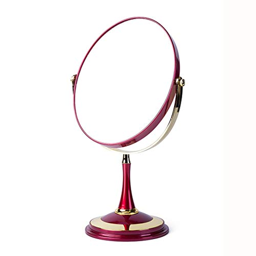 JXQ Miroir Femme Maquillage Miroir Portable Bureau Miroir Étudiant Dortoir Princesse Miroir Bureau Mini Double Miroir Réglable, 3 Couleurs (Color : RED, Size : 6 inches)