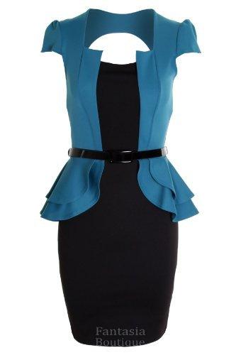 SAPPHIRE-Veste à manches courtes pour femmes, Wardrobe Jupe à ceinture pour femme Noir Turquoise - Turquoise